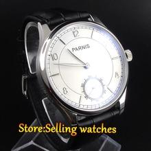 PARNIS 44mm cadran Blanc à la main enroulement mouette 6498 mouvement Hommes de montre