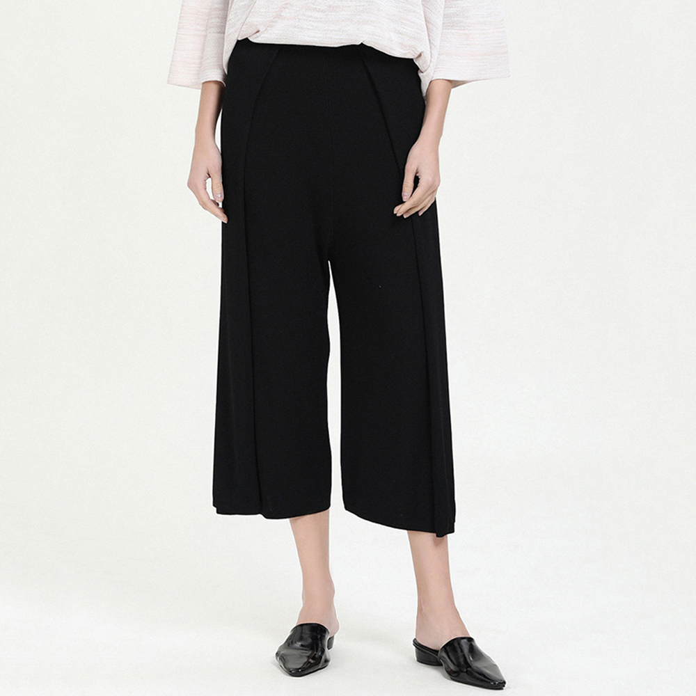 Summer New Quality Black Pleated Ladies Fashionable High Waist   Wide     Leg     Pants