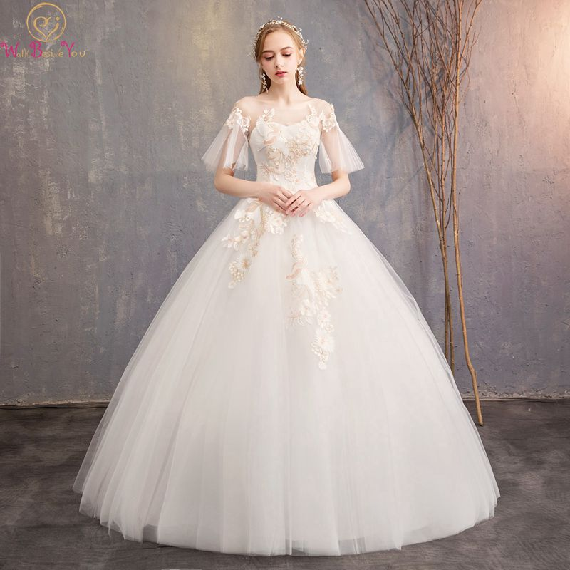 Elegant Lace Sleeve Short Wedding Dresses 2016 Scoop Neck: 2019 Elegant Wedding Dresses Ball Gown Scoop Neck Short