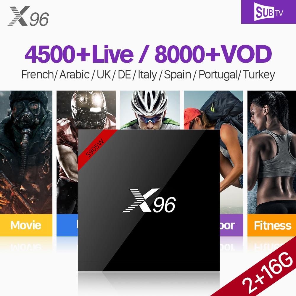 IPTV Francia Arabo SUBTV Codice 1 Anno X96 X96W Android 7.1 Smart IP TV Box 2 gb 16 gb Paesi Bassi spagna Belgio Francese IPTV Top Box
