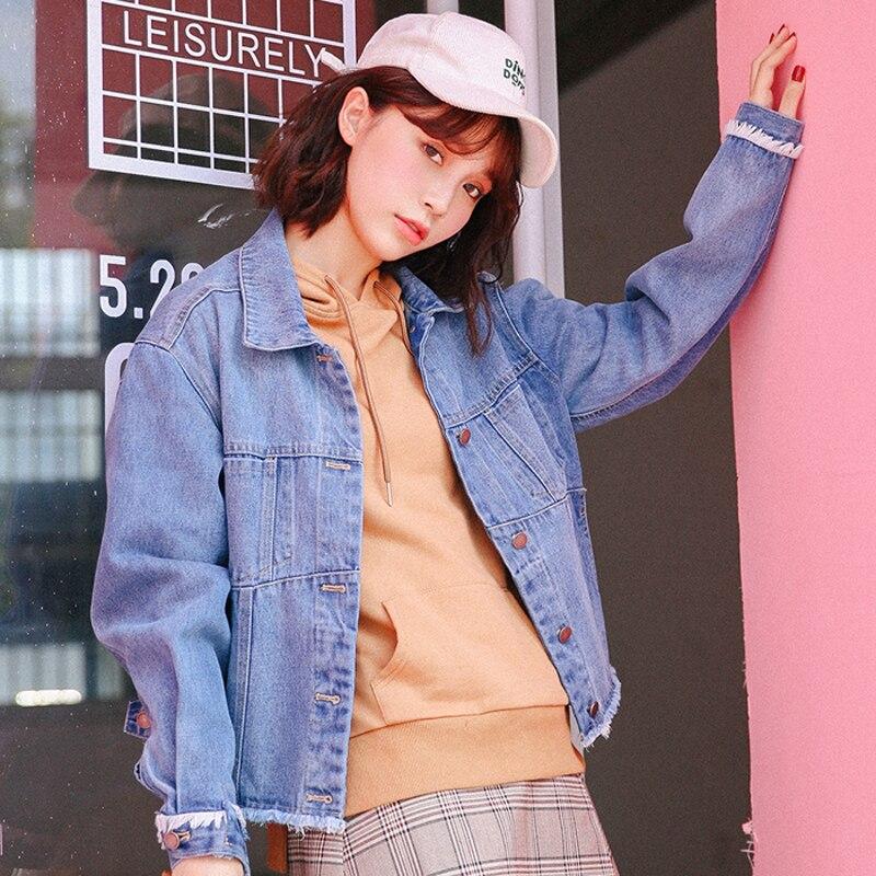 New Autumn Women Denim Jackets Fashion Fringed Short Jean Coats Female Blue Basic Jacket Winter Coat 2018
