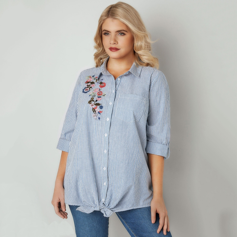 Light Blue Striped Blouse Women Plus Size Clothing 2018 Autumn 6xl
