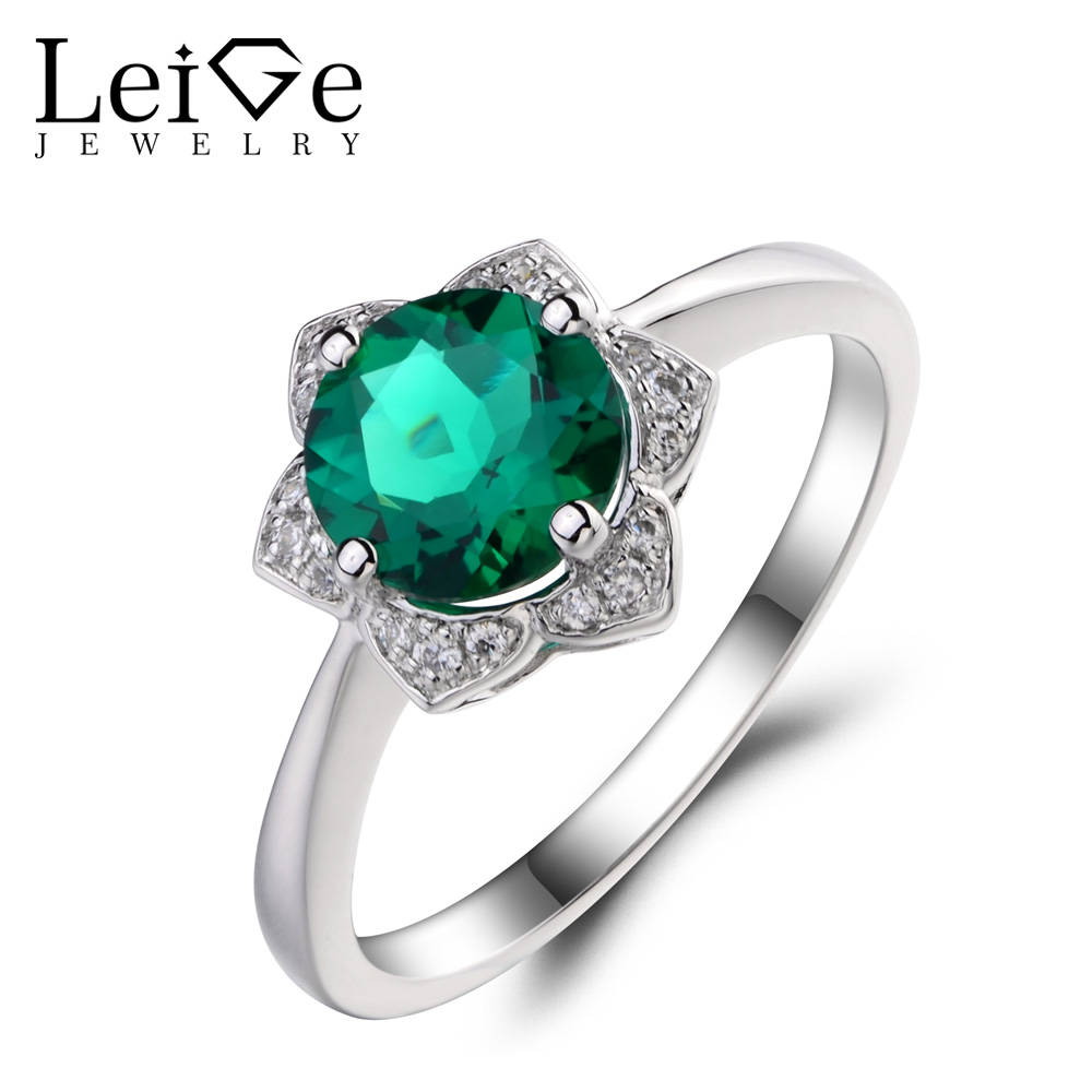 Leige Jewelry Lab Emerald Engagement Wedding Rings 925 Sterling Silver Ring Round Cut Gemstone May Birthstone Rings for Women leige jewelry emerald engagement rings for women pear shaped ring sterling silver 925 fine jewelry green gemstone may birthstone