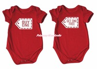 Twins Buy One Get One Free Red Bodysuit Romper 2 Pcs Set Nb 18m