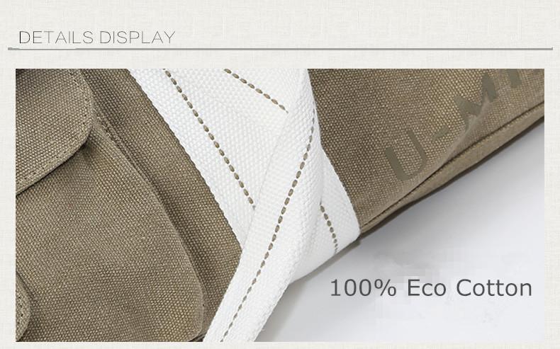 Sac à main beige, kaki, pour tapis de yoga en coton écologique, housse étui, gros plan détail sur la matière, toile