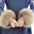 Женские зимние пальто манжеты модные меховые аксессуары Браслет Браслет реального ракун меховой манжеты