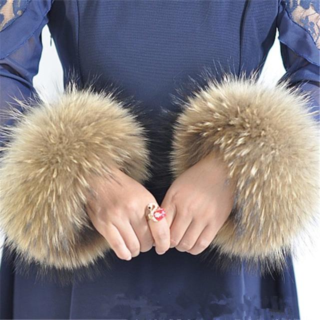 winter women's coat cuff fashion fur accessories Bracelet Wristband real raccoon fur cuff