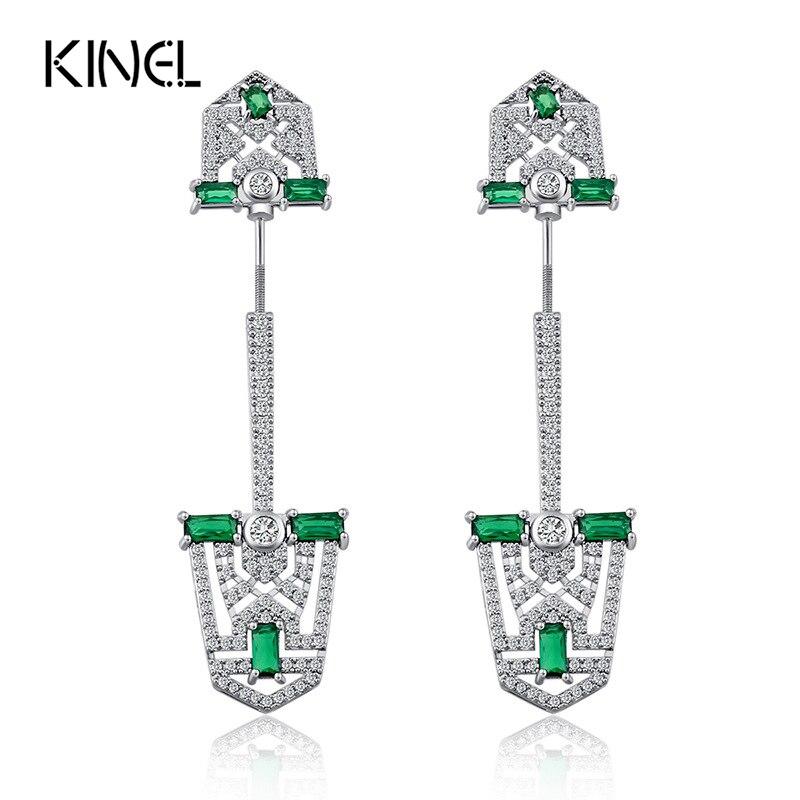 Kinel Luxury CZ Zircon Earrings For Women Color Silver Micro Pave Zircon Shield Screws Earrings Love