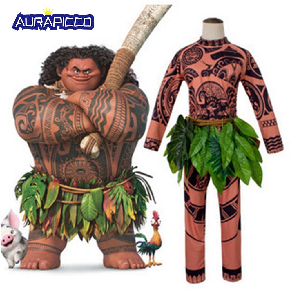 Moana Maui Tattoo Costume Indian Grass Skirt Halloween Fancy Dress Adult Kids Moana Pajamas Gift 3D Printed Toddler Sleepwear