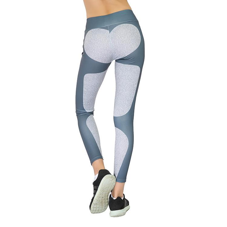 Yoga Pants Heart Pattern Splice Slim Leggings Athleisure Quick Dry Sport Fitness Elastic Waist Leggings Women Pants Breathable
