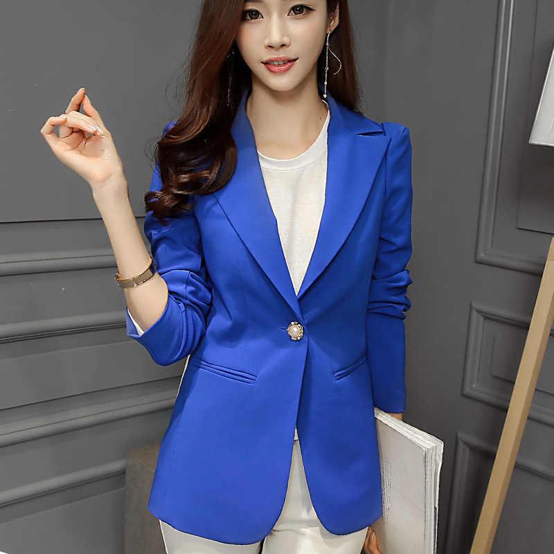 Dames Blazer Lange Mouw Blaser Vrouwen jasje Vrouwelijke Vrouwelijke Blazer Femme Roze Blauw Wit Zwart Blazer Herfst