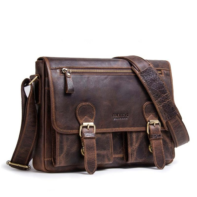 c91ff42298f 2018 Genuine Crazy Horse Leather Men Messenger Bag For Laptop Male Vintage  Tote Shoulder Crossbody Bags Handbag travel keepall