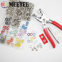 Meetee 100/150/200sets 9.5mm Colors Metal Prong Ring Buttons Baby Clothing Snap Sewing Craft Install Tool accessories AP642