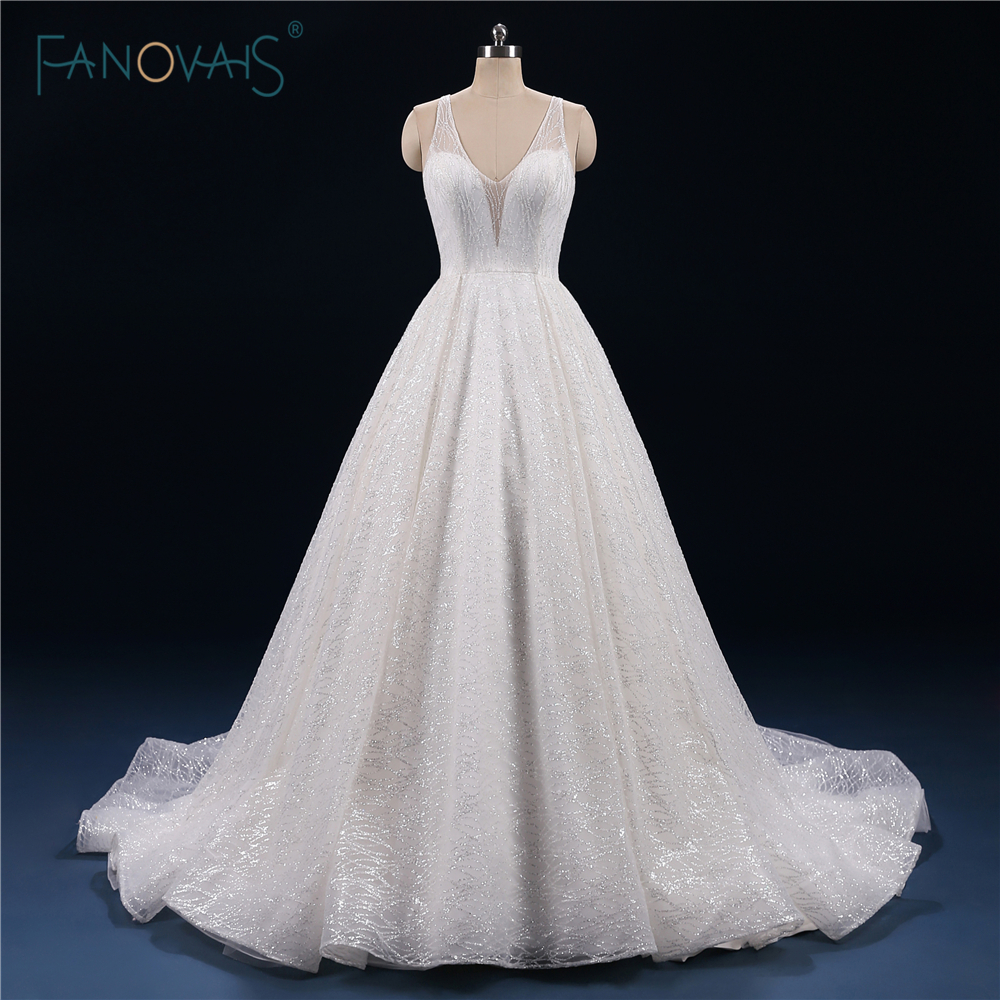 Sparkly Wedding Dress 2019 V-Neck Ball Gown Lace Wedding Gown Long Beaded Sash Glitter Robe De Mariee Wedding Party Dress SM13