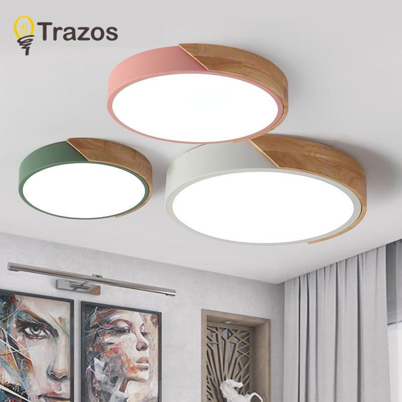 2018 TRAZOS pendentif lumières Led moderne pour salle à manger En Bois + Métal suspension suspendus au plafond lampe éclairage à la maison pour la Cuisine