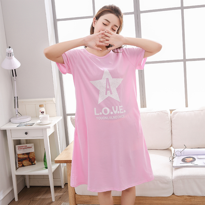 Big Size M-5XL Women   Nightgown   Cute   Sleepshirts   Summer Home Dress Cotton Sleepwear Loose Nightdress Indoor Clothing