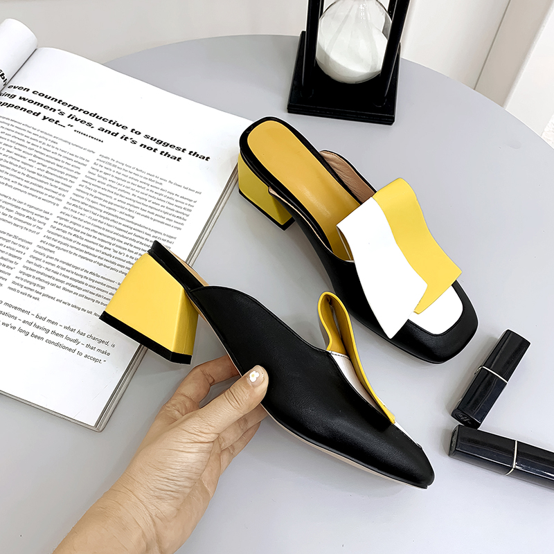 YANSHENGXIN Slingback Mixed Colors Summer Slippers Women Open Toes Sandals Women Square Heels Women 39 s Shoes Zapatos De Mujer in Slippers from Shoes
