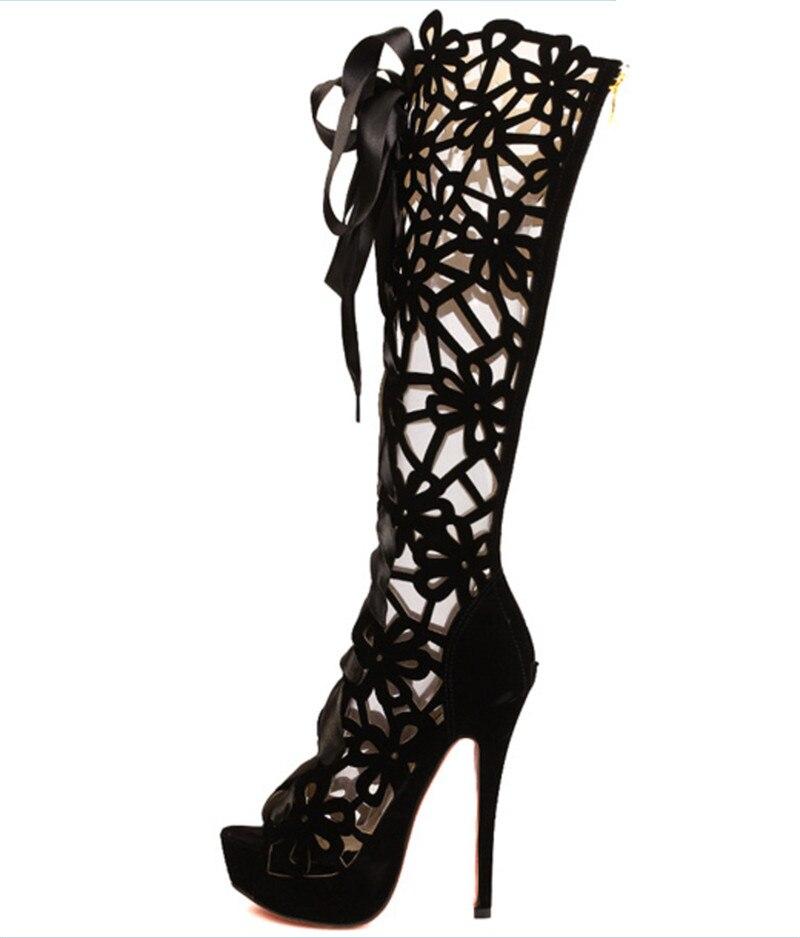 ФОТО Hot women shoes cut-outs lace-up thin heels shoes classic fashion pumps 14 cm high heels boot big size eur35-42