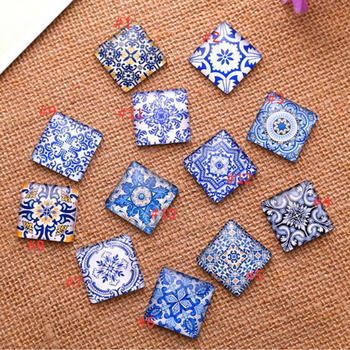Blue White Porcelain Square Pattern Fit DIY Jewelry Making 3