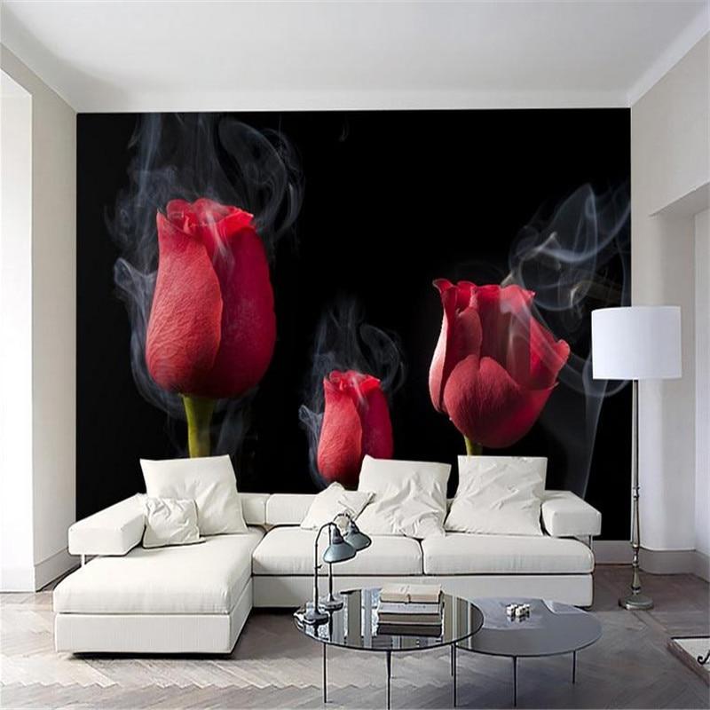 . US  20 12 49  OFF 3d HD custom modern wallpaper living room bedroom TV  hotel bar background wall mural fog black simple elegant rose wallpaper in
