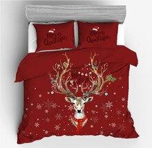 Juego de ropa de cama navideña, juego de edredón con estampado de venado, 2/3 Uds., ropa de cama doble Queen King (sin sábana ni relleno)