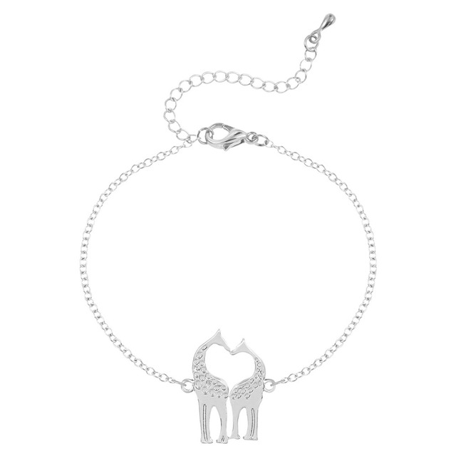 Qiming One Piece Giraffe Bracelet Women Heart Shaped Kissing Animal Bracelets Love Bangle Jewelry For S