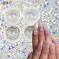 SWEET TREND New 250pcs/Bottle 1.0mm SS3 Sparkly Nail Art Decor Rhinestone Clear AB Color Flat Back Glitter Crystal DIY NJ257
