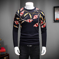 High Quality Sweater Men 2016 Winter Thicken Pull Homme Fashion Print Pullover Men O-Neck Slim Fit Casual Mens Jumpers 4XL-M Hot