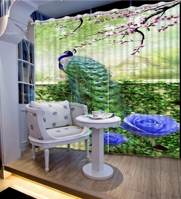 Moderne Gordijnen Voor Woonkamer Mooie groene grond pauw Blackout 3D ...
