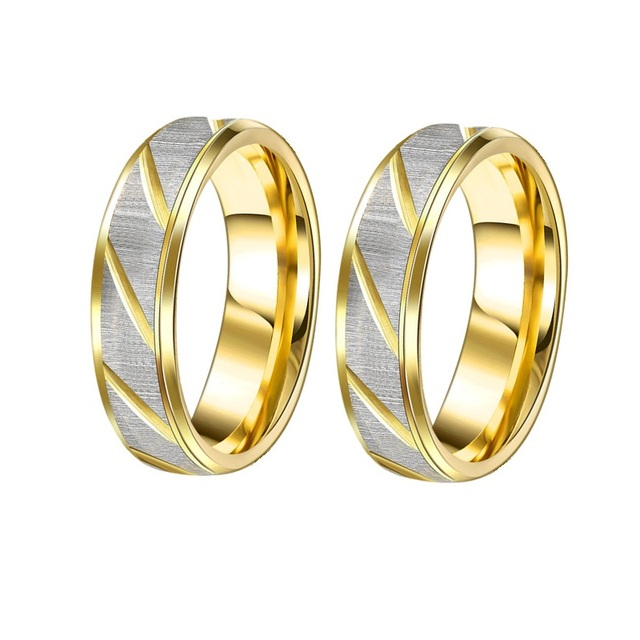 2pcs pair wedding rings gold color couples ring set for women and