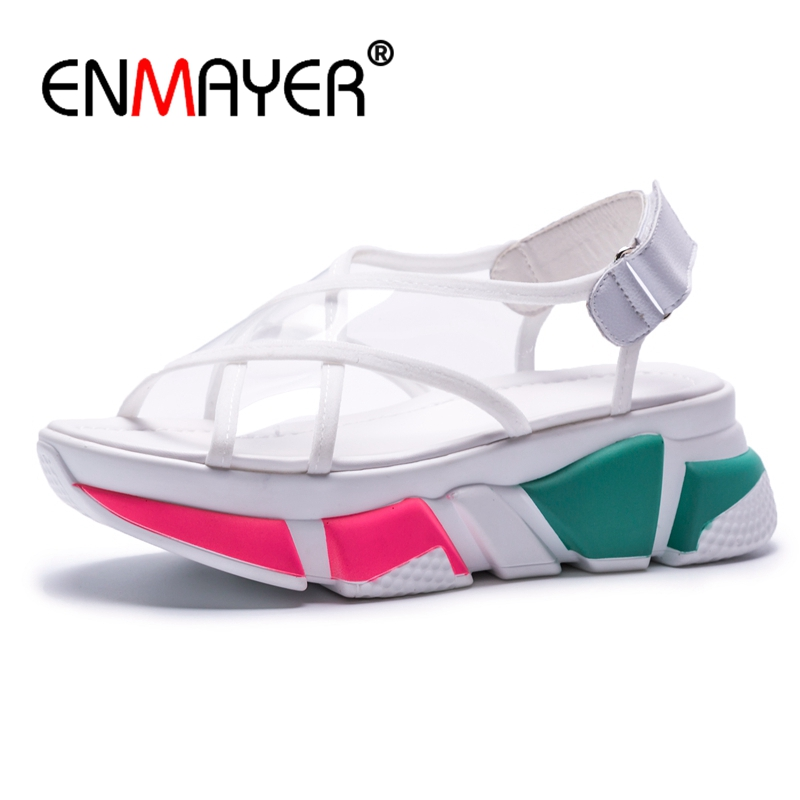 ENMAYER Popular young women boots fashion breathable spring and summer Brand Sneaker Comfortable Buckle casual Sandals ZYL149