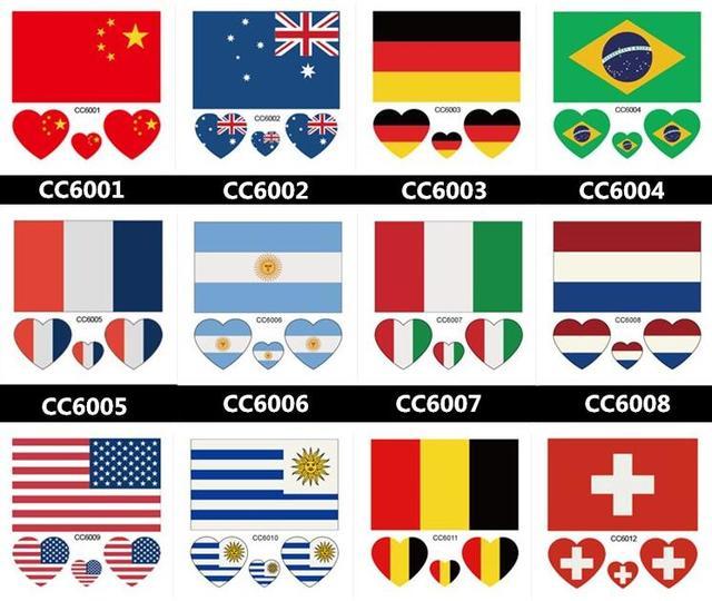 Us 126 8 Off100 Sztuk Australia Niemcy Brazylia Włochy Francja Ameryki Holandia Rosja Kanada Anglia Flaga Tatuaż Naklejki Wodoodporne Twarz łatka