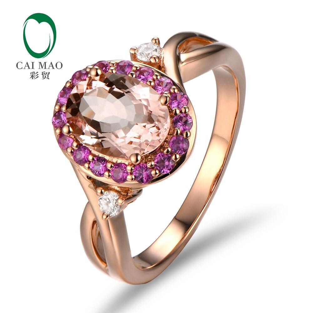 Caimao 18kt/750 розовое золото 0.4ct круглой огранки и розовый сапфир 1.79ct натуральный морганит Обручение кольца ювелирные изделия