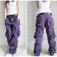 Baggy Pants 5 colors 2018 New Arrival Plus Size Cargo Thick overalls pockets Hip Hop Women Loose Jeans khaki S50