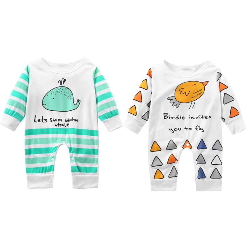 Newborn Baby Boys Girls Romper Cartoon Whale Stripe Print Cotton Long Sleeve Romper jumpsuit Costume Baby Clothing