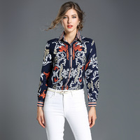 2018 High Quality Blouses Women S Dark Blue Morning GloryTurn Down Collar Long Sleeve Fashion Tops