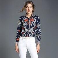 2018 High Quality Blouses Women S Dark Blue Morning GloryTurn Down Collar Long Sleeve Fashion Tops