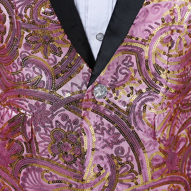 3bd1f68612710d Aliexpress.com : Buy Paisley Floral Sequins Blazer Men Shawl Collar Shiny  Glitter Mens Gold Suits Stage Blazers Singer Costumers Party Jackets Hombre  from ...