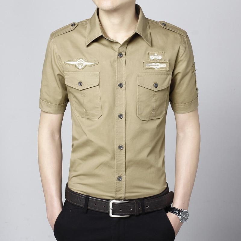 70dc4d7c17c3b Estilo militar hombres de ropa de manga corta camisa fina delgada más del  tamaño del instrumental hombre algodón camisas de cuello cuadrados en  Camisas ...
