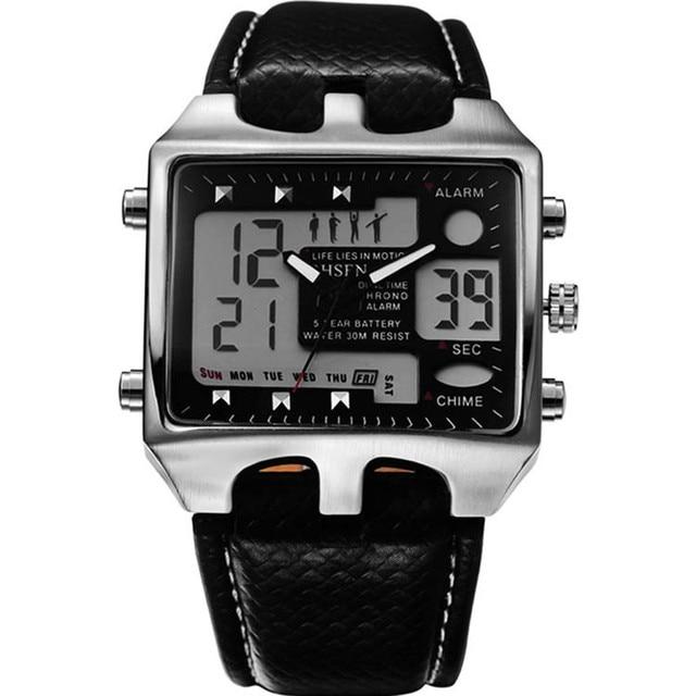 Irisshine I10 brand luxury Men watches Mens Stainless Steel Case Sport Black Leather LCD Digital Quartz Wrist Watch Wholesale