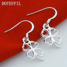 цена на Silver 925 Love Lucky Clover Silver Earrings Lovely Ladies Fashion Jewelry Manufacturers Wholesale Drop Earrings Jewelry