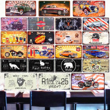 USA Vintage Car License Plates Decorative Metal Tin Signs Shabby Chic Home Pub Bar Motorcycle Decor Route 66 Iron Plaque 30x15cm