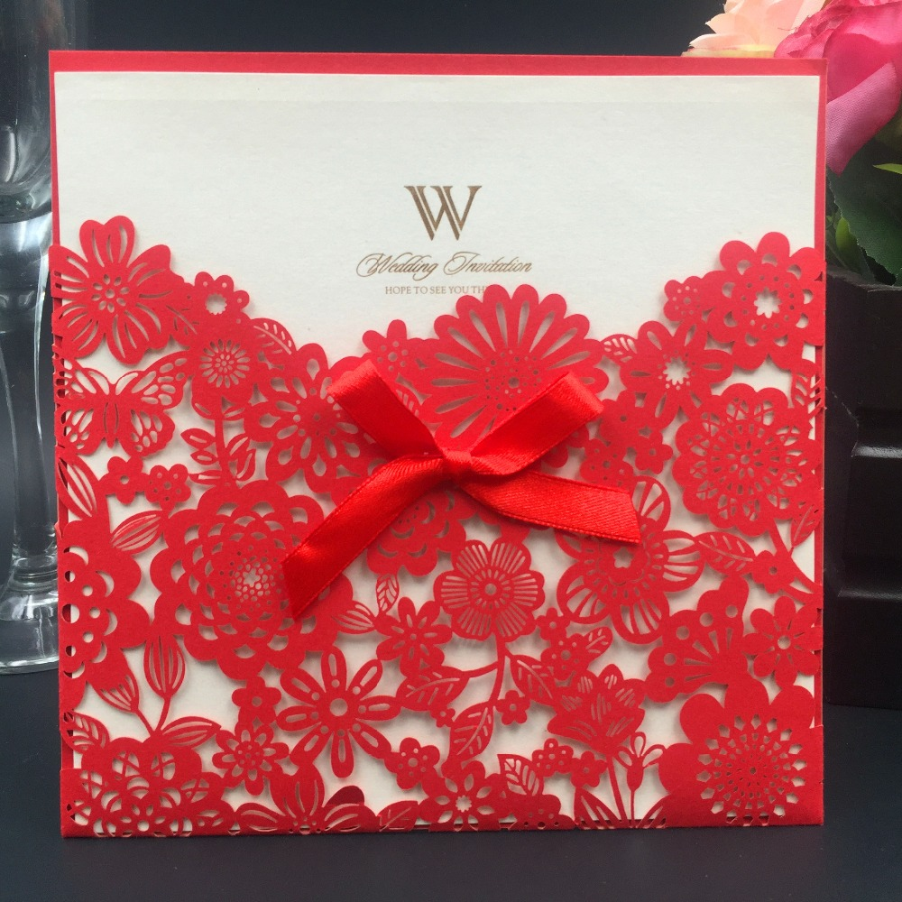 12pcs Chinese Red Pocket Wedding Invitations Cards Envelope Christmas Cards Laser Cut Flowers