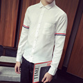 Young men 's long sleeve shirt of new fund of 2016 autumn pure color TB cultivate one' s morality no - iron t trend of led