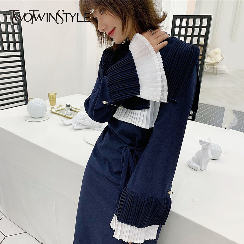 TWOTWINSTYLE Patchwork Pleated Dress Women Flare Long Sleeve Side Split Hit Colors Dresses Female Korean Fashion 2019 Spring