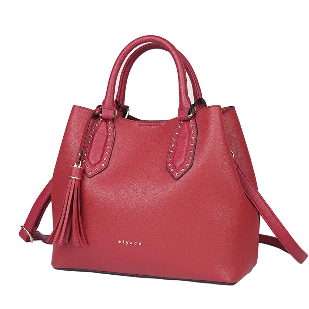 Miyaco New 2018 Elegant Handbags Women Leather Shoulder Bag Designer Luxury Women Bags Crossbody Bag Bucket Hand Bag Red