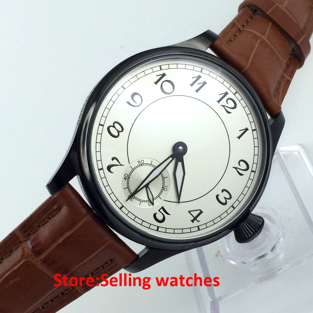 Parnis 44mm White Dial Special 6 Sea Gull Hand Winding 6498 Men s Watch