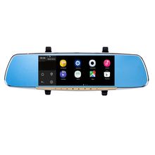 HD Dual Car DVR with 7″ Touch Screen Car Rearview Mirror Monitor GPS FM Transmitter Android 4.4 Quad Core 1G DDR3 16G Flash
