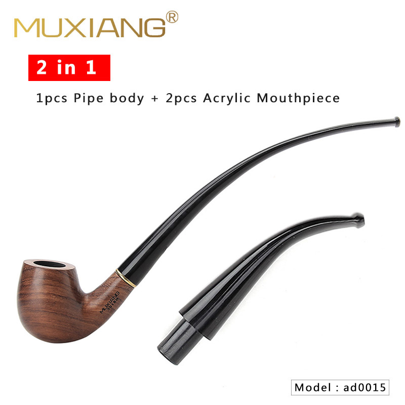 RU-MUXIANG 2 In 1 Wooden Rosewood Smoking Churchwarden Pipe High Quality  With 9mm Filter 10 Smoking Tools Pipe Set Ad0015