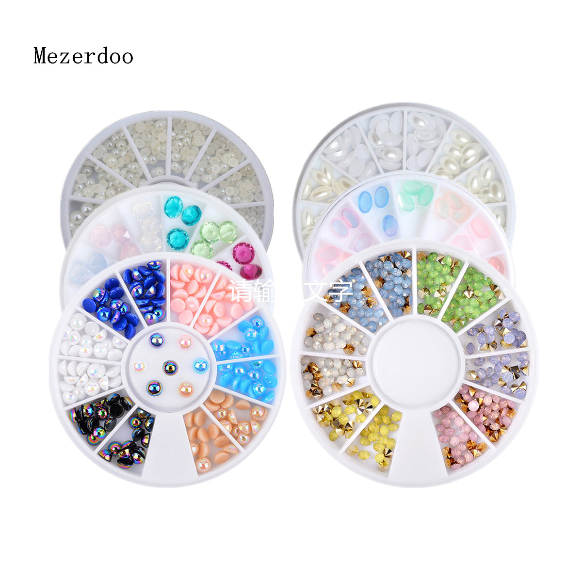 Colorful Protein Cone Nail Deco Wheel Flatback White Horse Eye Pearl Bead Nail Tools Candy Color DIY Resin Glitter Nails Sticker